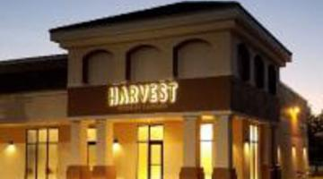 Harvest building at sunset