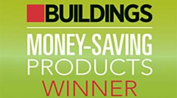 "Graphic that reads ""Buildings. Money-Saving Products Winner"""
