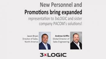 "Graphic of ""New Personnel and Promotions bring expanded representations to 3xLogic and sister company PACOM's solutions"""